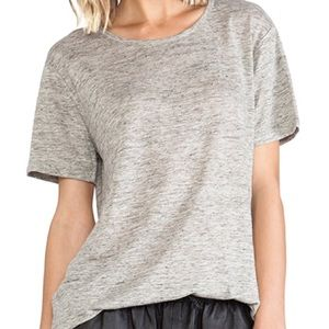 T Alexander Wang Grey Linen Short Sleeve Top Small